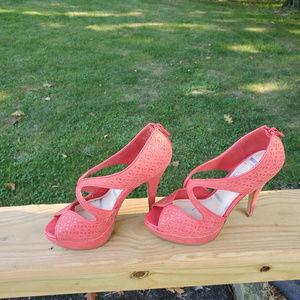 ELLE Eyelet Platform Heels
